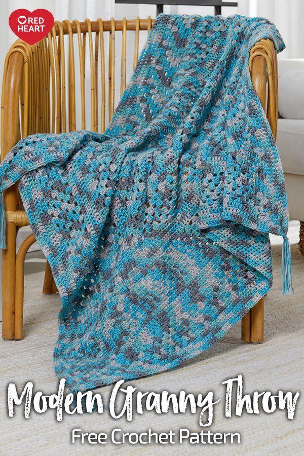 Modern Granny Throw Free Crochet Pattern In Super Saver Jumbo Yarn