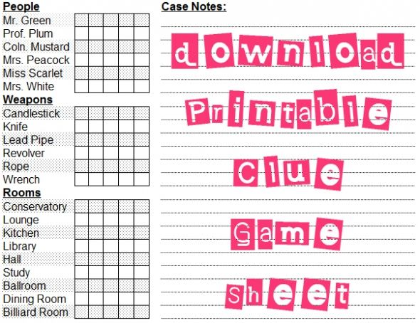 Clue Game Sheets printable clue game sh...