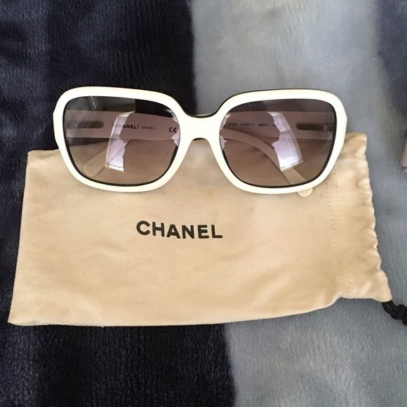 Chanel Sunglasses ⚡️SALE⚡️Beautiful sunglasses, I had it for years. Classy and timeless! Oh la la...  Very good conditions. White front frame but black on the sides. It is authentic guarantee, I only have dust bag. No trades. Prefer ️️ send me offers  CHANEL Accessories Sunglasses