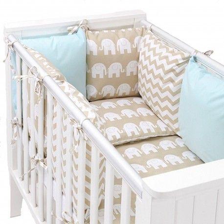 Tour de lit coussins modulable avec parures -  design réversible ZigZag Eléphnats - Beige/Bleu