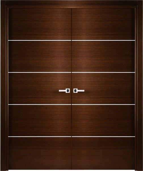 Mia-2 Contemporary Italian Wenge Interior Double Door with Decorative