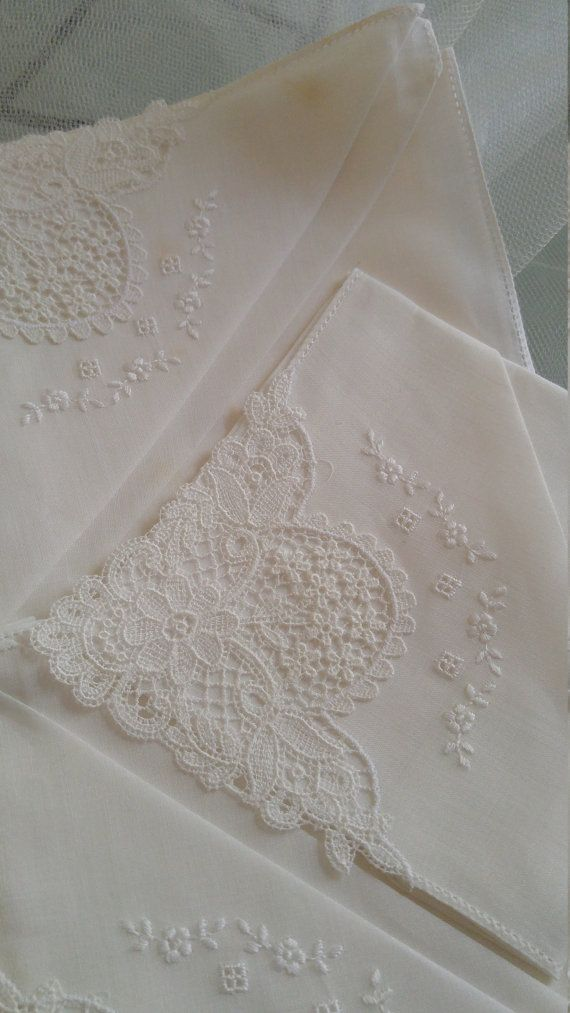 Set of White Lace Handkerchiefs by ariadnesjourney on Etsy