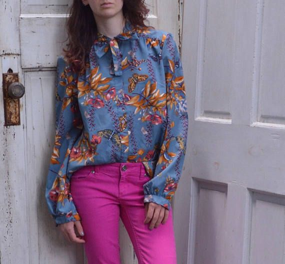 vintage blouse, fall blouse, butterfly shirt, tie-neck blouse, chic work blouse, vintage butterfly shirt
