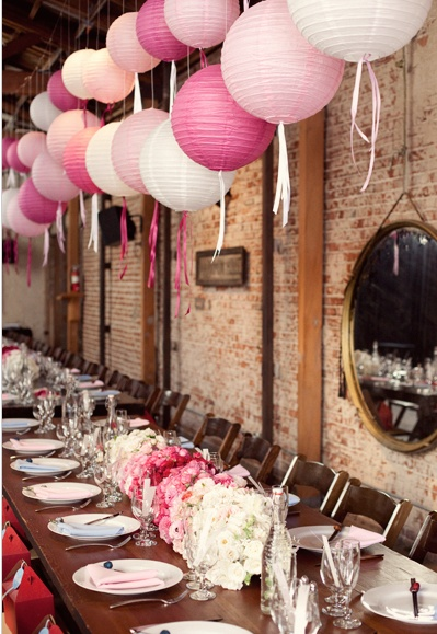 lanterns: Shower Ideas, Birthday Parties, Paper Lanterns, Pink Paper, Decor Tables Mariage, Bridal Shower, Tables Lanterns Wedding, Pink Lanterns, Adorable Lanterns