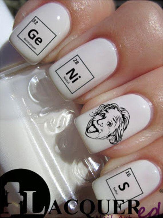 Antisèches chimie ! 20 Albert Einstein Genius Nail Art Decals