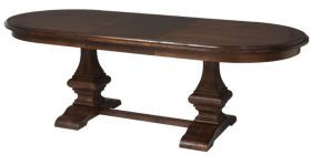 Gleaming wooden dining table boasting a classic pedestal base, with a beautifully-crafted butterfly extension. Shop now at www.artefac.ca