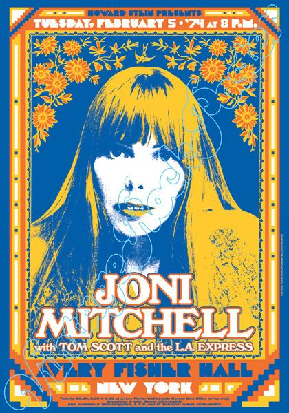 797- Joni MITCHELL - New York, usa - 5 february 1974 -  artistic concert poster