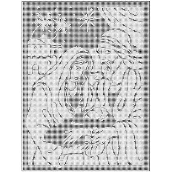 Mary, Joseph and Baby Jesus Filet Crochet Wallhanging Pattern