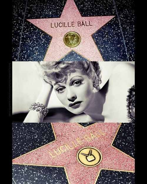 Lucille Ball's stars on the Hollywood Walk of Fame for motion pictures (6436 Hollywood Boulevard) and broadcast television (6100 Hollywood Boulevard)