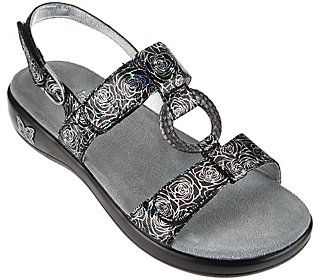 Alegria Leather Multi-Strap Sandals with Hardware Detail - Julie