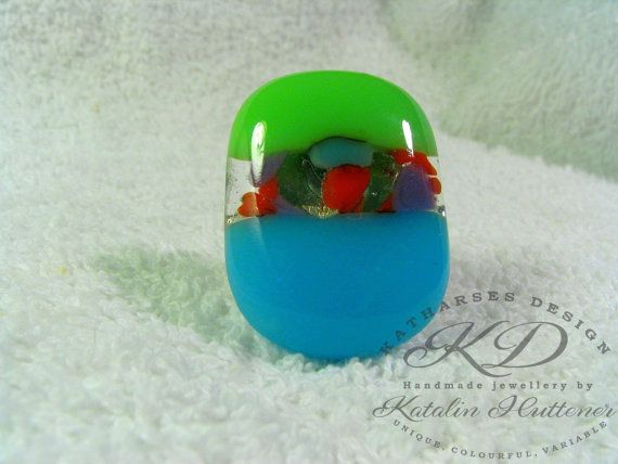 BOHO COLOURFUL RING  Fused Glass Ring with by KatHarsesDesign