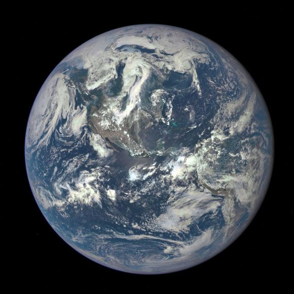 NASA Deep Space Climate Observatory Satellite has captured its first view of Earth. The image shows the entire sunlit side from one million miles away.