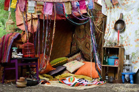 Hippie Gypsy opknoping Beaded gordijn, Room Divider, deurplaat, Custom gemaakt, garen en gerecycleerde materialen