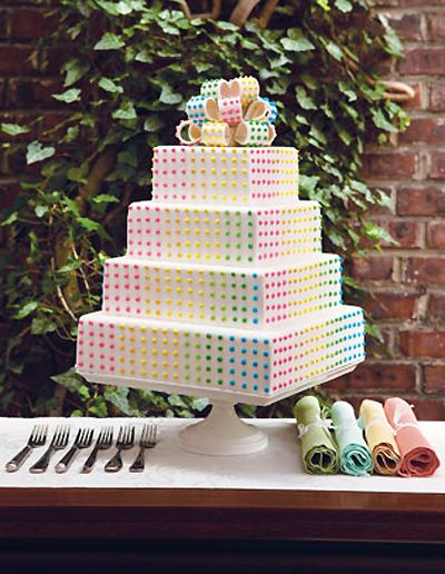 candy button cake from Dog n' Bird (cake by Lochel's Bakery) i love these!!!!!!: Dot Cakes, Idea, Button Cake, Candy Buttons, Buttons Cakes, Candy Dots, Wedding Cakes, Candy Cakes, Dots Cakes