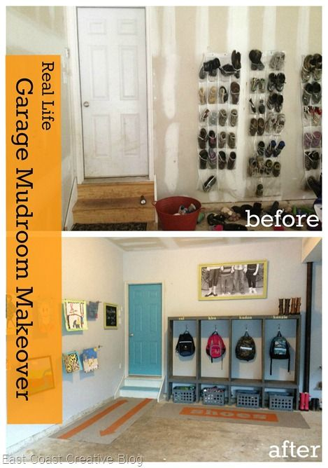 """Before and After garage makeover.  Love this organized after school dump zone.  No more """"Mooo-omm!  Have you seen my...."""""""