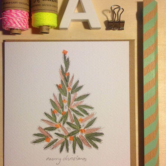 Christmas Tree Card by lizkingillustration on Etsy