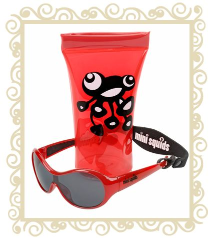 On sale! http://www.buttonbaby.com.au/mini-squids-sunglasses-p-1856.html  Mini Squids are an Australian designed aquatic range of sunglasses for babies and toddlers aged 6 months to 3 years. They are designed to wrap snugly around small faces and provide maximum protection for little peepers.Dimensions:10.5cm (Front) x 10.0cm (Temple) x 3.6cm (Lens).Mini SQUIDS Sunglasses features:  *  Mini SQUIDS provide 100% UV protection (UV 400) and comply with the Australian Standards AS/NZS: 1067*