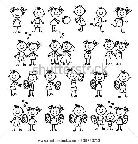 Vector set of happy family. Doodle illustration. Stick figure family. - stock vector