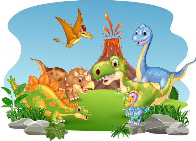 Cartoon happy dinosaurs in the jungle Vector | Premium