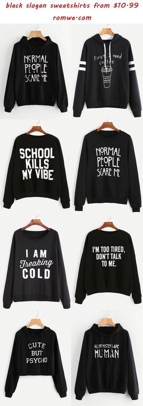 black slogan sweatshirts - romwe.com - Embrace your inner geek, find your perfect product at gearabilia.com and connect with our incredible community.