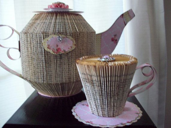 Book Art; Altered Book; Paper Art;Little French Tea Set; Paper Prop; Tea Party Decor