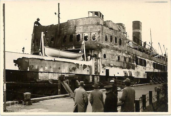 Shalburgtage M/F Sjælland. Motorfærgen Sjælland beskadiges ved et bombeattentat den 3. november. 1943.