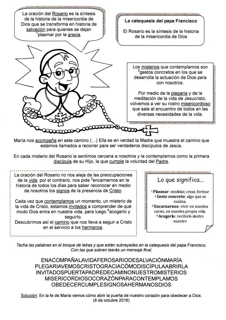 Explicación sencilla para que los niños aprendan a rezar el Rosario:                     Lunes y Sábado:       Jueves:        Martes y ...