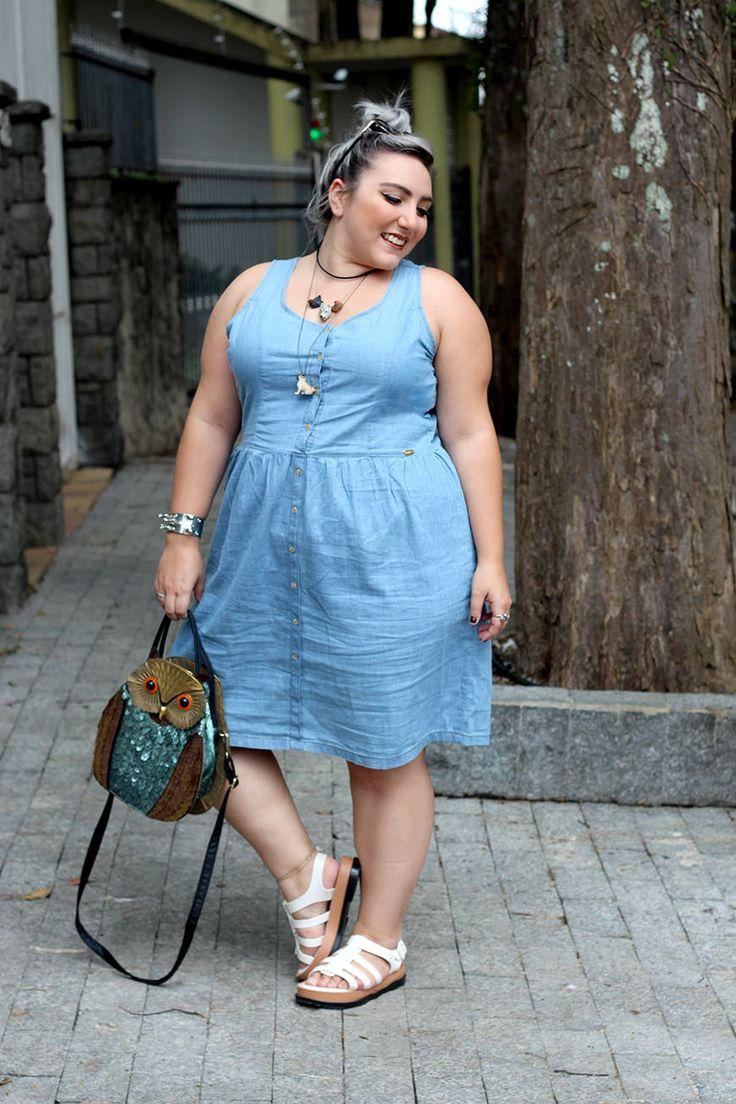 vestido jeans plus size posthaus