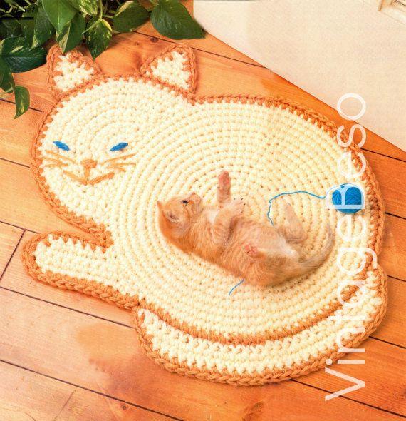 Vintage Crochet Pattern Cat Rug-INSTANT DOWNLOAD PDF-Kitty Area Rug- Crochet Pattern-Feline Rug-Meow Mat-Home Decor-Easy Crochet-Printable