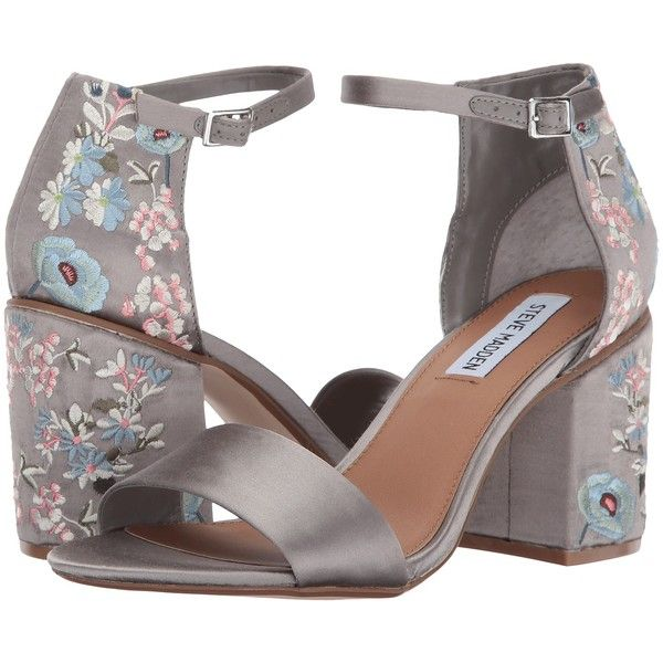 Steve Madden Rania (Grey Satin) High Heels ($78) ❤ liked on Polyvore featuring shoes, sandals, grey, ankle strap high heel sandals, high heels sandals, dress sandals, gray sandals and grey dress sandals