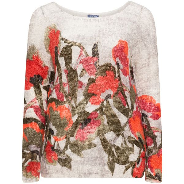 Samoon Cream / Multicolour Plus Size Floral jumper (510 HRK) ❤ liked on Polyvore featuring tops, sweaters, cream, plus size, long sleeve sweater, womens plus sweaters, plus size sweaters, cream sweater and plus size long sleeve tops