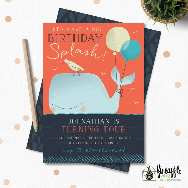 Whale Birthday Invite, Whale Birthday Invitation, Whale Boy Birthday, Whale Party Package, Whale Birthday Printable, Whale Download, Whale by FineapplePair on Etsy