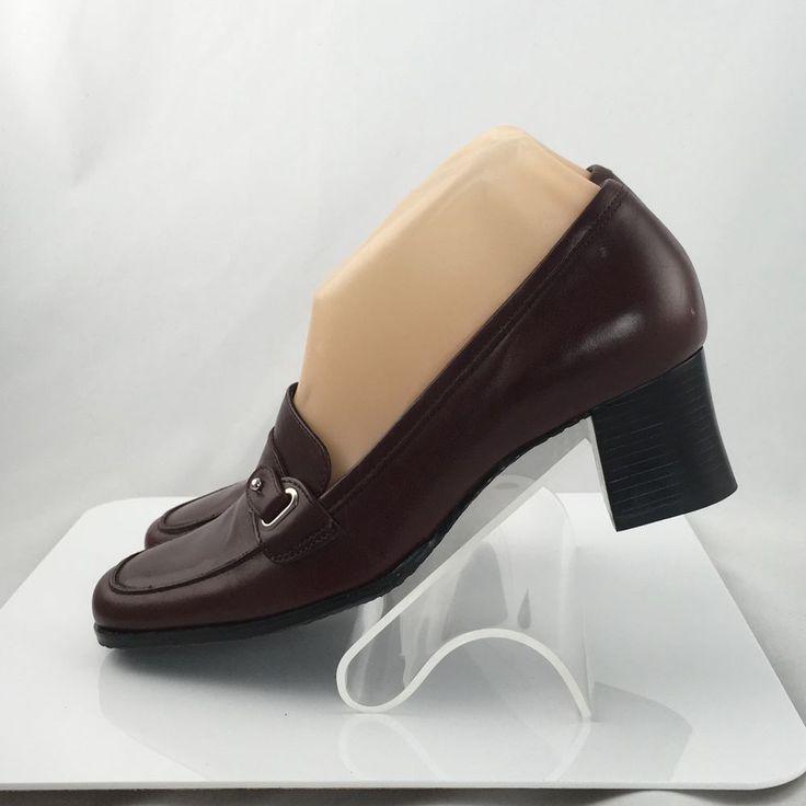 Etienne Aigner leather loafers size 6M block heels shoes burgundy #EtienneAigner #HeelsPumps #Casual
