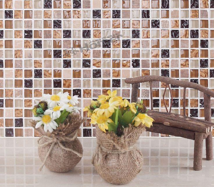 Экспресс-доставка бесплатно! кристалл и мраморная мозаика плитка кухня щитка ванной комнате душевая кабина стены плитки стекла, смешанного камня, мозаика