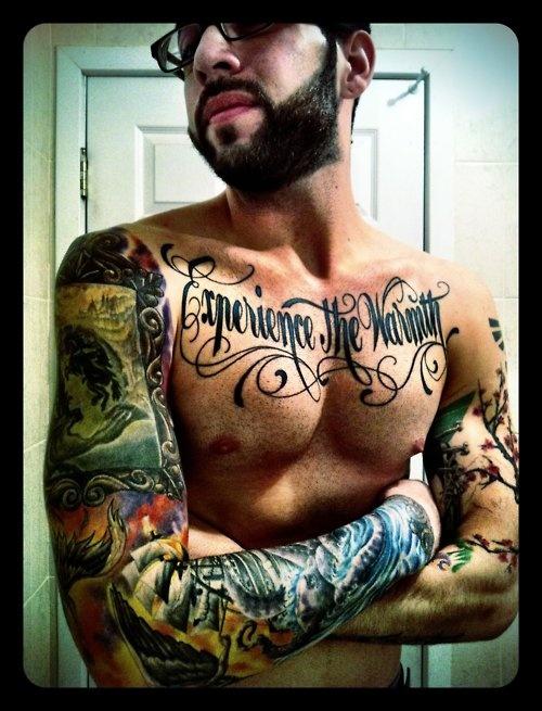 experience the warmthColors Sleeve, Sleeve Chest Tatt, Warmth Tattoo, Men Tattoo Chest, Tattoo Chest Men, Body Tattoos, Body Art, Men Chest Tattoo, Awesome Tatt