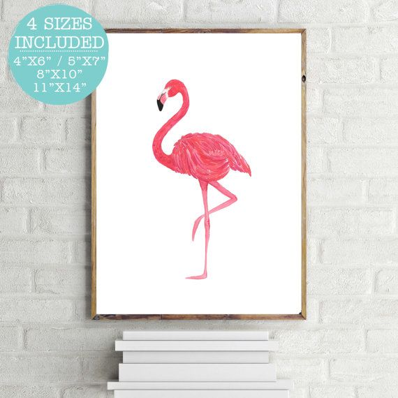 Pink Flamingo Flamingo Print Pink Flamingo by LittleHollowPrints