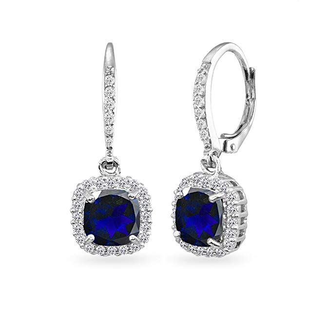 c12ee947b Sterling Silver Created Blue Sapphire Cushion-Cut Dangle Halo Leverback  Earrings with White Topaz Accents