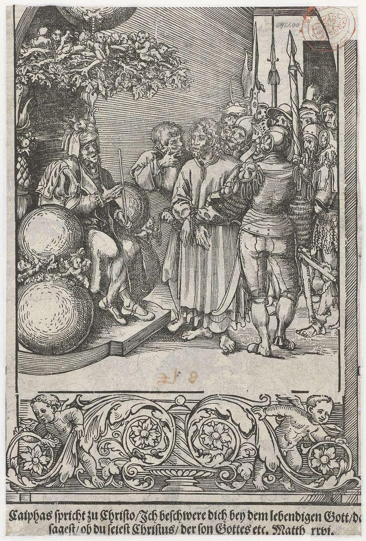 Lucas Cranach (I) | Christus voor Herodes, Lucas Cranach (I), 1509 | Christus wordt door soldaten voorgeleid aan Herodes. Onder in de marge is een ornament afgebeeld met putti en guirlandes. Geheel onder staat een Duitse tekst in twee regels die de tronende figuur duidt als de hogepriester Kajafas: Caiphas spricht zu ... etc. Matth. rrpi. De voorstelling is echter algemeen bekend als Christus voor Herodes. De bovenrand van de prent met een gedeelte van de rondboog en de twee schilden met…
