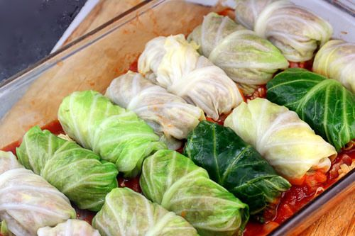 Amazing Stuffed Cabbage Rolls. Tender leaves of cabbage stuffed and rolled with turkey, garlic, onion and rice, simmered in a rick tomato sauce.