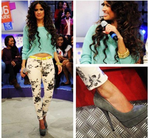Rocsi Diaz in floral print skinny jeans