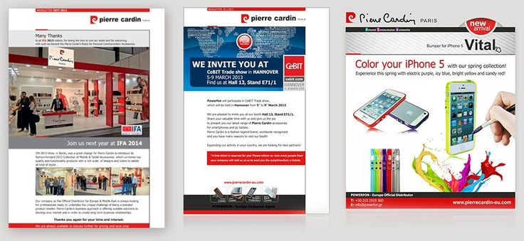 ThinkBAG designed and implemended the newsletters campaign of Pierre Cardin for B2Β mass-mailing.