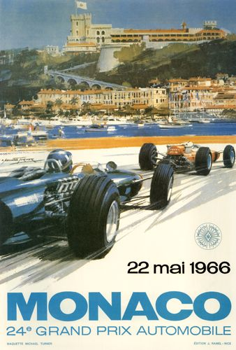 Retro poster, for the legendary race GP Monaco (1966). Good composition, feeling of speed and nice clean typography.