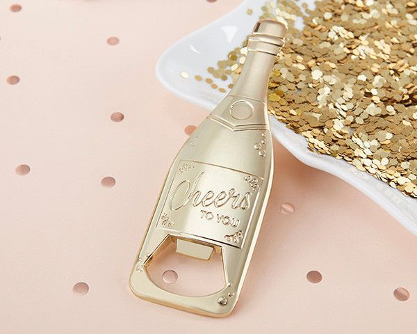48 Cheers Gold Champagne Bottle Openers Wedding Engagement Party Favors Q38038 #KateAspen