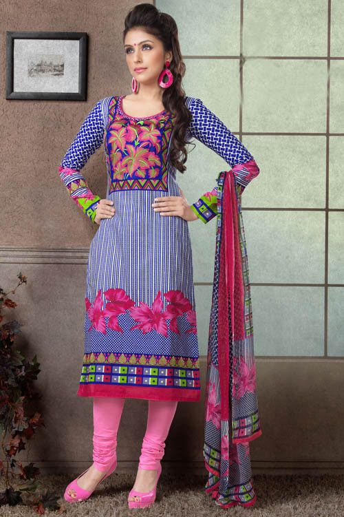 Aarti Chhabria Blue & Pink Cotton Printed Dress Material