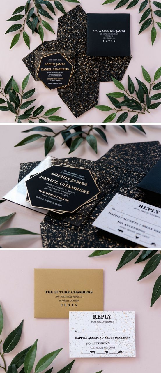 A modern black and gold geometric wedding invitation suite, the Sophia features an acrylic invitation inside of a self mailer envelope with a striking black and gold pattern. Guests will receive your invitation in a custom made self mailer envelope with your return address printed on the back flap.