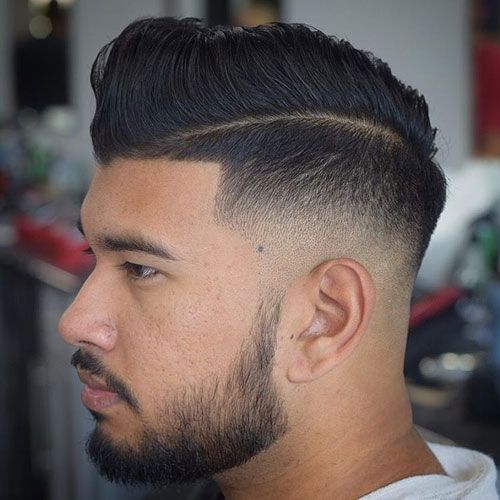 Mid Fade with Hard Part Comb Over