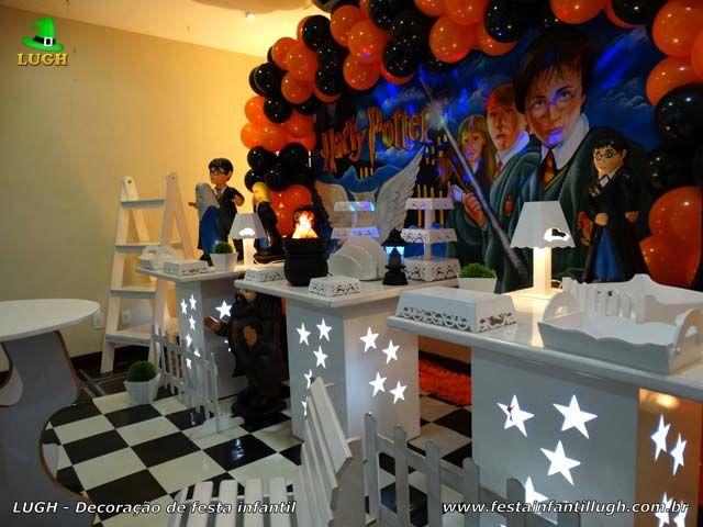 Decoração de festa Harry Potter provençal simples - detalhes da mesa temática imagem 04