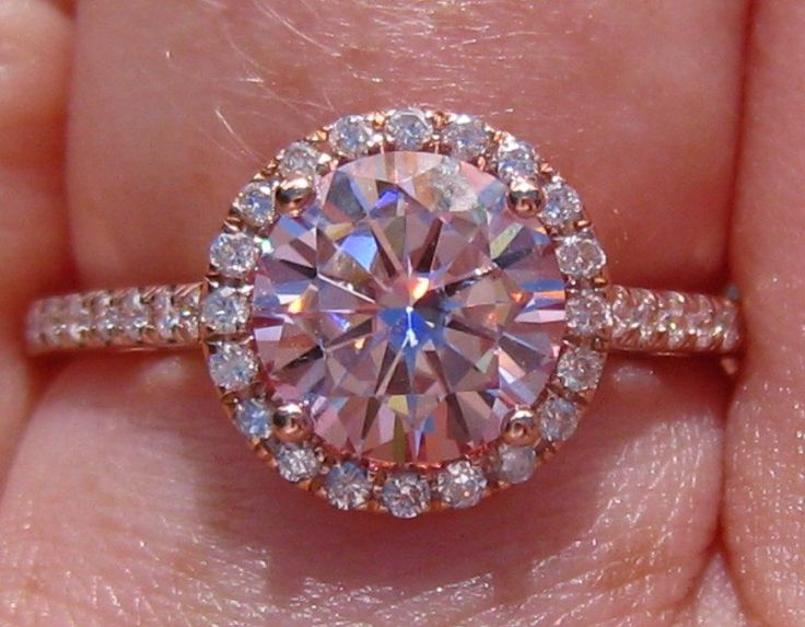 Pink Moissanite Engagement Ring, Rose Gold Engagement Ring, Pink Moissanite Rose Gold Diamond Halo Engagement Ring by JuliaBJewelry on Etsy https://www.etsy.com/listing/201614346/pink-moissanite-engagement-ring-rose