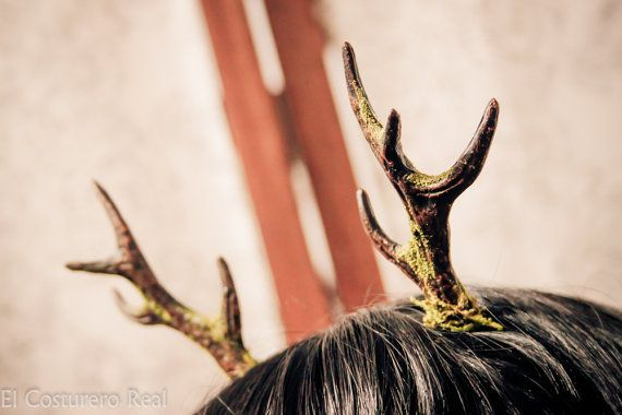 Deer Antlers Costume resin Headpiece Kawaii Mori by CostureroReal