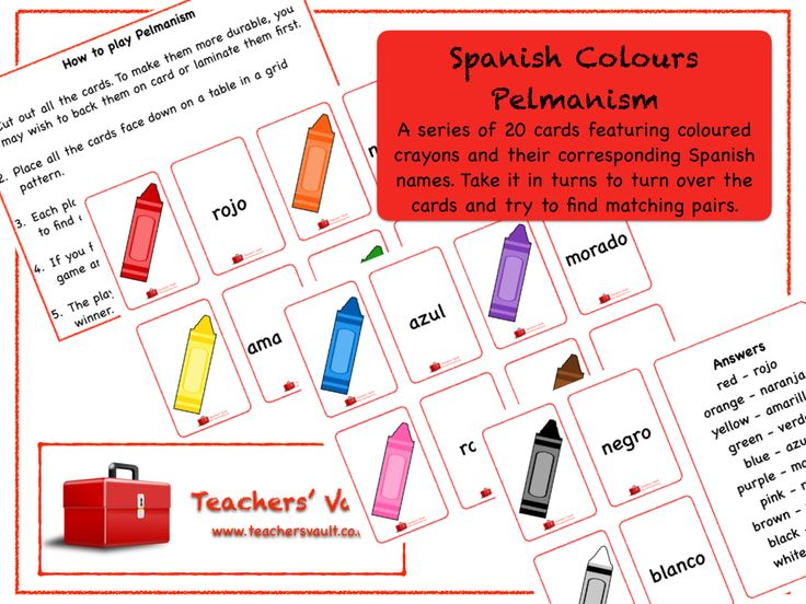 Spanish Colours Pelmanism Game - MFL Teaching Resources and Games